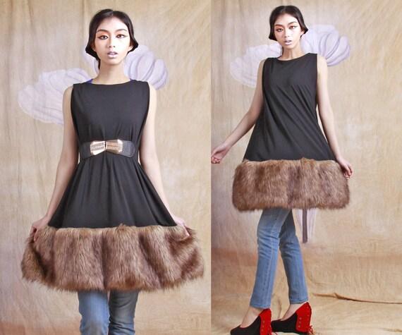 faux fur dress winter dress wool dress long dress tutu dress