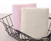 Pastel Pink Cream Cotton Fabric, Soft Light Pink Cream Cotton With Jacquard Plaid- 1/2 yard
