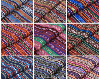 Colorful Stripe Cotton Fabric Yarn Dye Fabric BOHO Bohemian Style Bag Chair Cushion Fabric- Fabric 1/2 Yard