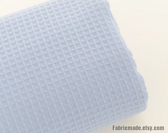 100% Cotton Fabric, Light Blue Waffle Weave Cotton, Waffle Checks Cotton Fabric For Robes Baby- 1/2 yard