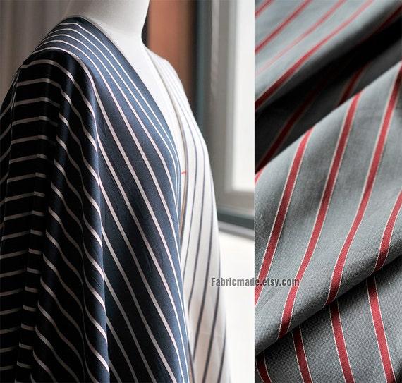 Yarn Dye Stripe Cotton Fabric/ Wide Navy Blue Grey Gray Off White Stripes Fabric/ Brushed Cotton- 1/2 yard