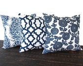 Set of three Throw Pillow covers, Pillow Covers, Cushion, Decorative Pillow, Premier Navy Blue White geometric modern decor