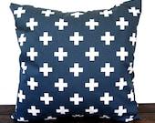Pillow, Throw Pillow, Pillow Cover, Cushion, Decorative Pillow, Premier Navy Blue White Swiss Cross