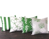 CLEARANCE Coastal Green pillow covers set of Four cushion cove gray white throw pillow ocean beach nautical decor