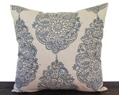 Navy Indigo Blue pillow cover, throw pillow, one navy and oatmeal cushion cover pillow sham Hira modern home decor