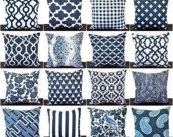 Pillow, Throw Pillow, Pillow Cover, Cushion, Decorative Pillow, Premier Navy Blue White geometric modern decor