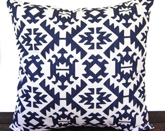 Pillow, Throw Pillow, Pillow Cover, Cushion, Decorative Pillow, Premier Navy Blue White Pawnee southwestern aztec decor