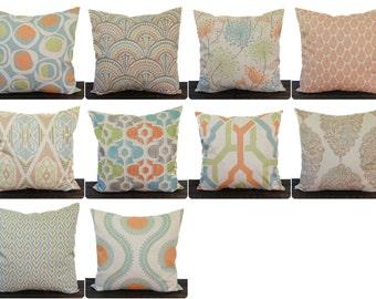 Pillow, Throw Pillow, Pillow Cover, Cushion cover, Decorative Pillow cover, orange blue green kiwi gray beige modern decor Ridgeland