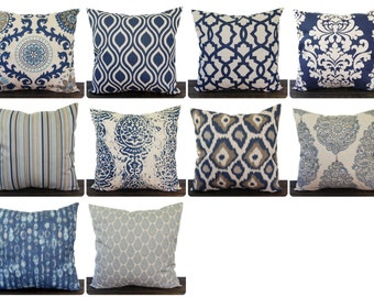 Navy Blue pillow cover one navy and oatmeal batik cushion cover pillow sham ikat