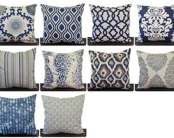 Navy Indigo Blue pillow cover one navy and oatmeal batik cushion cover pillow sham ikat