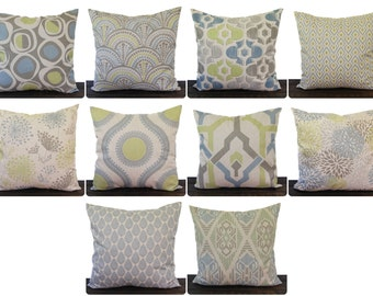 Pillow, Throw Pillow, Pillow Cover, Cushion, Decorative Pillow, blue green kiwi gray beige oatmeal geometric modern decor