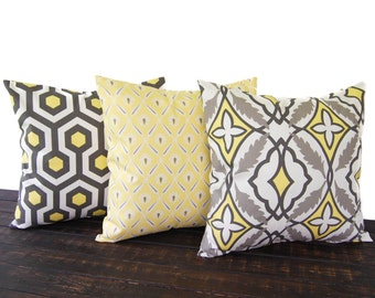 Set of three Throw Pillow covers, Pillow Covers, Cushion, Decorative Pillow, Lemon Yellow Taupe Off White geometric modern decor