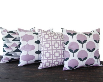 Throw Pillows, Pillow Covers, Cushion, Decorative Pillows, dusty purple plum charcoal gray off white decor set of four modern home decor