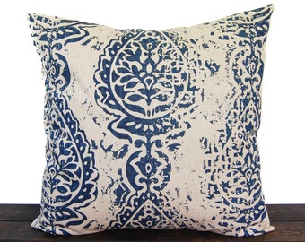 Navy Blue pillow cover, throw pillow, one navy and oatmeal cushion cover pillow sham Manchester modern home decor