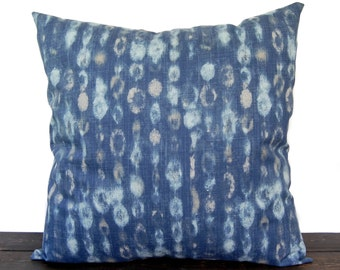 Navy Indigo Blue pillow cover, throw pillow, one navy and oatmeal cushion cover pillow sham Amba modern home decor