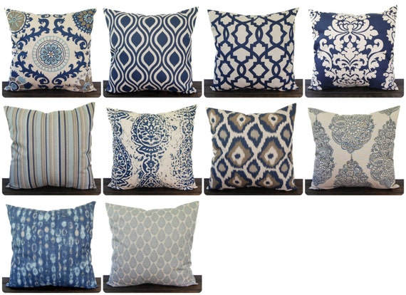 Navy Blue And Beige Pillow Cover One Navy And By