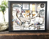 World Travel Map - Anniversary Gift Men - Framed Map -  Rustic Shadow Box Art - Personalized Anniversary Present