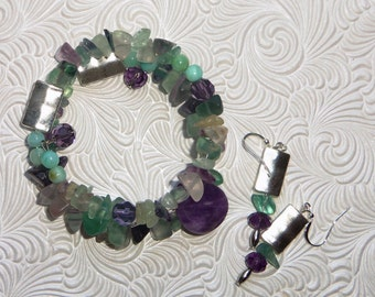 fluorite, pewter, and amethyst  memory wire bracelet with earrings