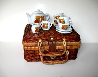 Child's Miniature Tea Set w/ Picnic Basket and lace tablecloth, Doll dishes, Vintage toy, girl's room,  gift idea