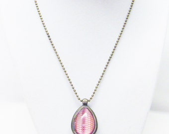 "Time Line ""POP AGE"" Acrylic on Bronze Tear Drop Charm Necklace"