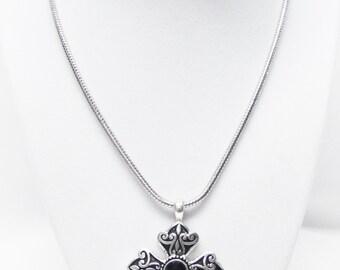Fancy Cross w/Decorative Silver on Black Necklace