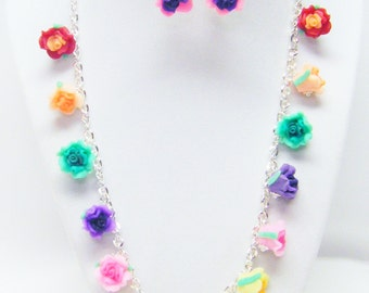 Multicolored Polymer Clay Flower Beads Necklace/Pink Earrings Set