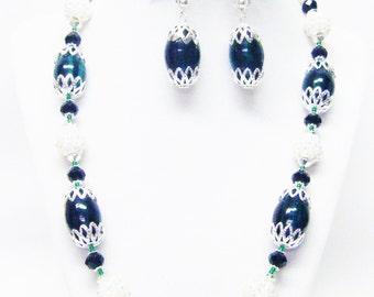 Large Oval Green Swirl Glass Bead Necklace/Bracelet/Earrings Set