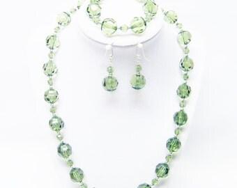 Round Dark Green Rondelle Faceted Resin Bead Necklace/ Bracelet/Earrings Set