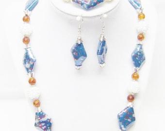 Teal w/Orange/White Splatter Glass Bead Necklace/Bracelet & Earrings Set