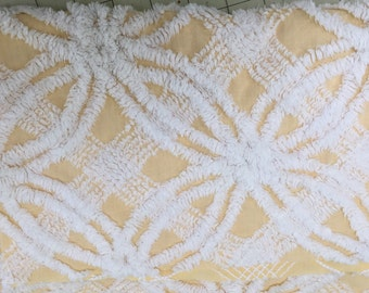 Vintage Yellow/White Chenille Bedspread FQ