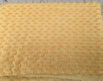Vintage Golden Yellow Chenille Bedspread FQ