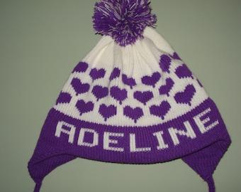 Personalized and Handmade knit  earflap hat - Adeline, Sophia, Hadley, Isabella, or Caroline