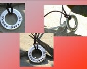 Mens Washer Necklace Custom Metal Stamped Pendant Masculine Male  Steel Jewelry