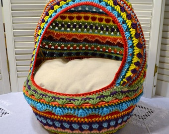 Crochet Cat Cave Pet Bed Upcycled Wicker Basket  Mulitcolor Boho Handmade Littlestsister