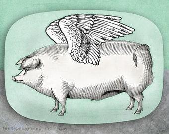 Pigs Fly melamine serving platter