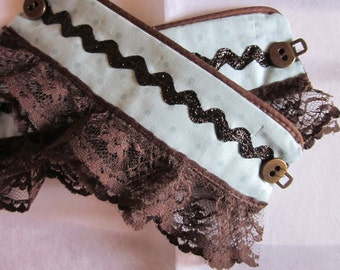 Brown Marsala and Aqua Fabric Cuffs with Brown Lace