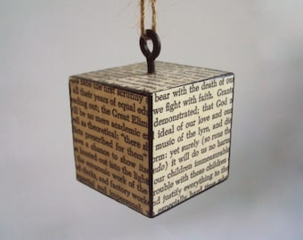 Writing Ornament - Hanging Book Page Cube - Christmas Ornament - Recycled Book Art Block Decoration - Writer Gift Teacher Gift - Black/White
