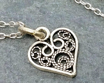 Filigree Heart Necklace - 925 Sterling Silver - Love Charm Jewelry NEW