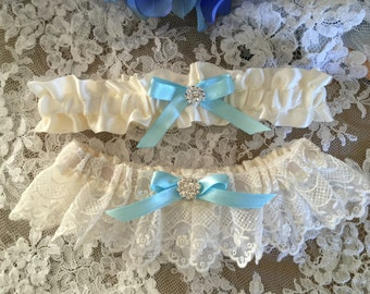 SALE Lace Garter with blue bow - something blue garter-White or Ivory
