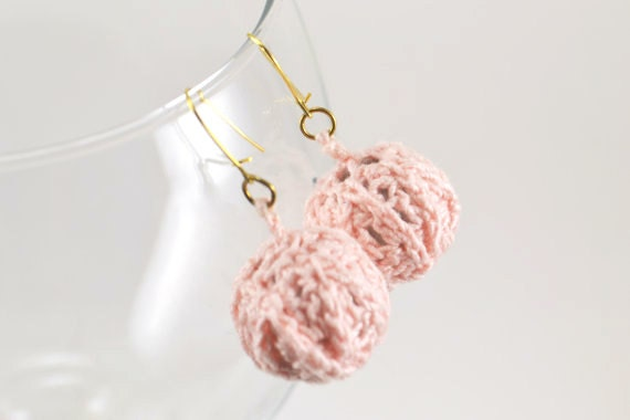 Crocheted Tea Rose Pink Ball Earrings with Gold Hooks - Powder Pink Ball Earrings- Perfect Gift for Woman or Little Girl - Birthday Present