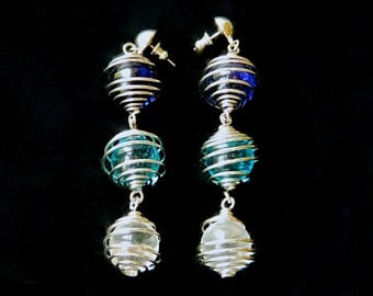 "Vintage Earrings Moderne Long Dangling Glass Balls Wrapped in Silver Wire Blue Aqua Clear Pierced 3 1/2"" Long"