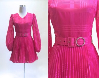 Vintage 1960's Dress - 60's Dress - Fuchsia Pink Satin - Mini Dress With Rhinestone Buckle - XS Small