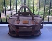 Pierre Cardin Bag, Vintage Travel Bag, Carry On Bag, Brown Duffle Bag, Men's Bag, Brown Bag, Canvas Bag, Medium Carry On, Overnight Bag