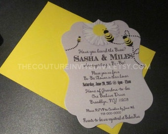 Sweet Bumble Bee II Baby Shower Invitation, Gender Reveal Baby Shower Invite, Honeybee Baby Shower, Bee Baby Shower Invite, Embossed Invite