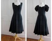 Vintage Black Raw Silk Dress - Sleeveless Dress - Bolero Jacket - Gore Panel - Shrug Jacket - Medium Size - 1950s - 1960s