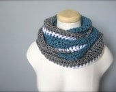 Crochet Blue, Grey, Gray, Silver, and White NHL, NFL Hockey, Football, Detroit Lions Team Colors Infinity Scarf, Men's Scarf, Unisex Scarf
