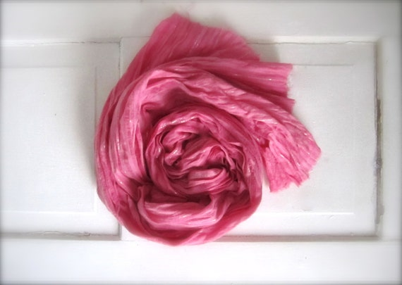 Cotton Hand Dyed Silver Threaded Lightweight, Spring Scarf, Summer Scarf, Pink Pastel, Scarf, Shawl, Wrap