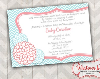 Shabby Chic Turquoise and Coral Baby Shower Invitation