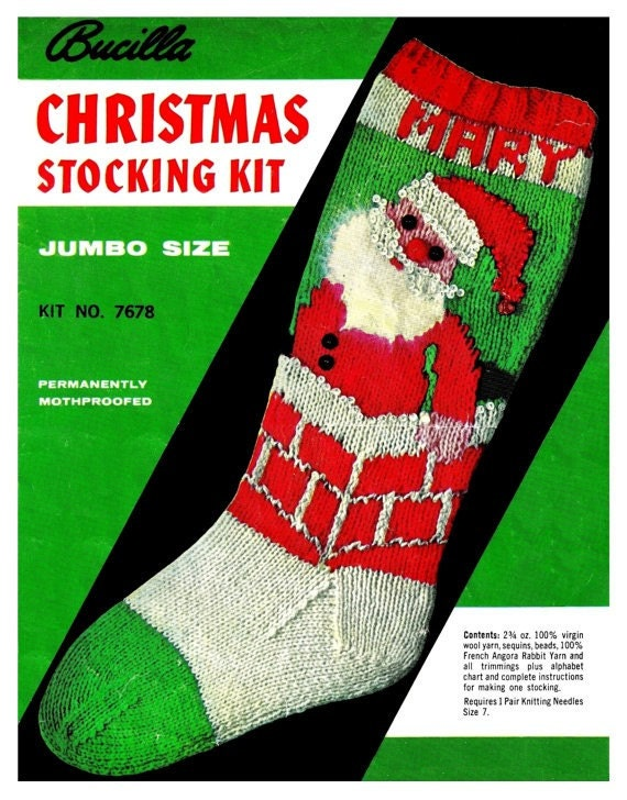Vintage Christmas Knit Stocking Pattern PDF by KinzieWoolShop