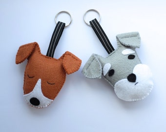 Cute dog keychain Jack Russell terrier or Schnauzer